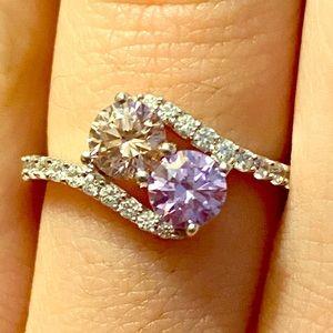 NEW - Swarovski Zirconia Pink, Purple, & CZ Ring